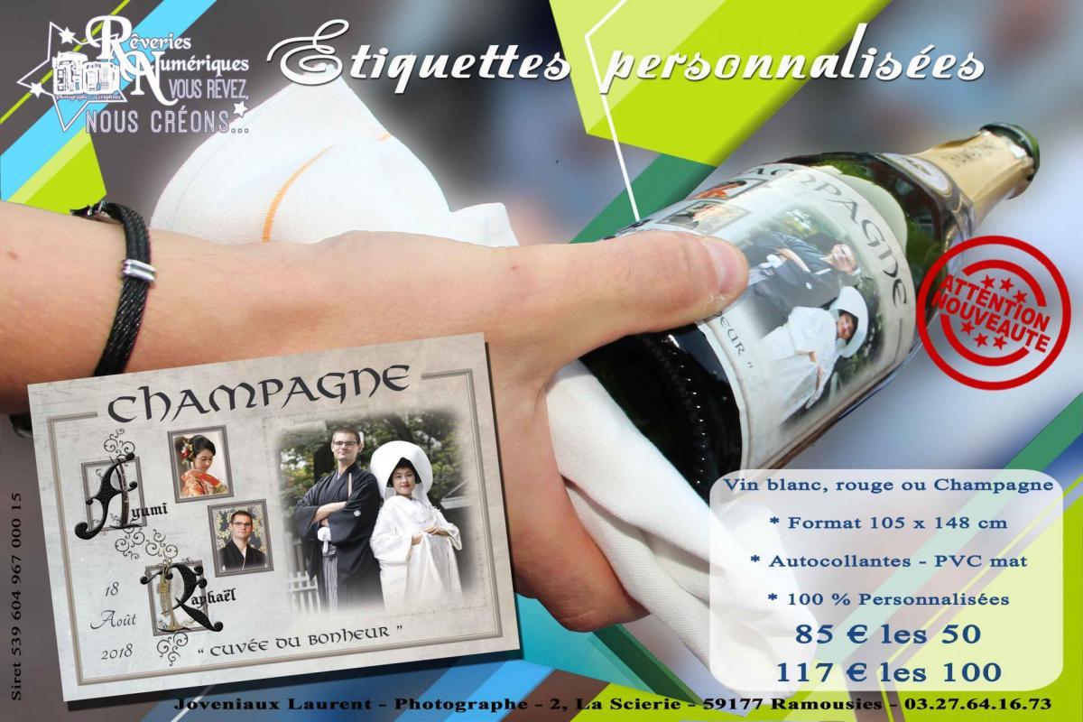 Etiquettes champagne vin personnalisees mariage repas joveniaux studio reveries numeriques