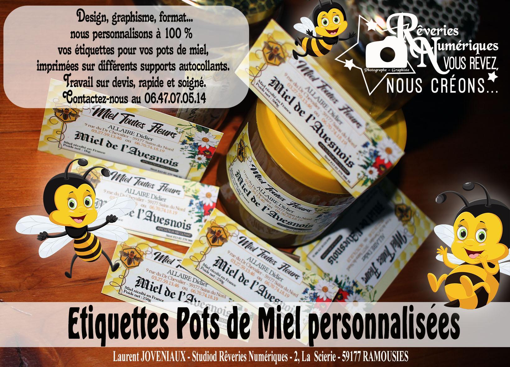 Joveniaux graphiste apiculteur miel etiquette pot imprimerie personnalise fourmies nord