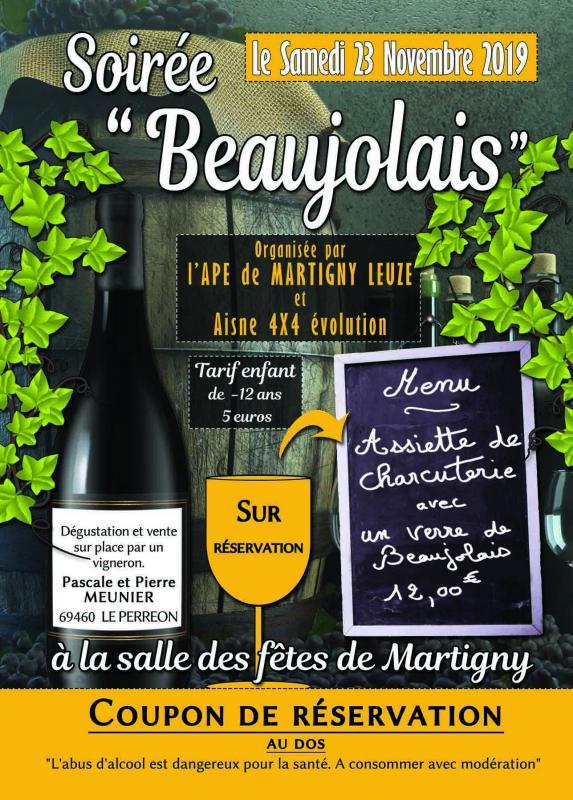 Joveniaux graphiste flyer soiree beaujolais martigny leuze aisne 4x4 ape 2019 recto